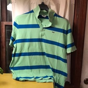 Lacoste polo size 8, light green and blue striped